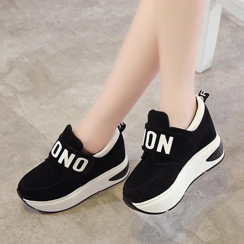Female Slip On Spring Black Red Sneakers Platform Hook Loop Increased Internal High Heels Wedges Women Fashion Comfort Casual