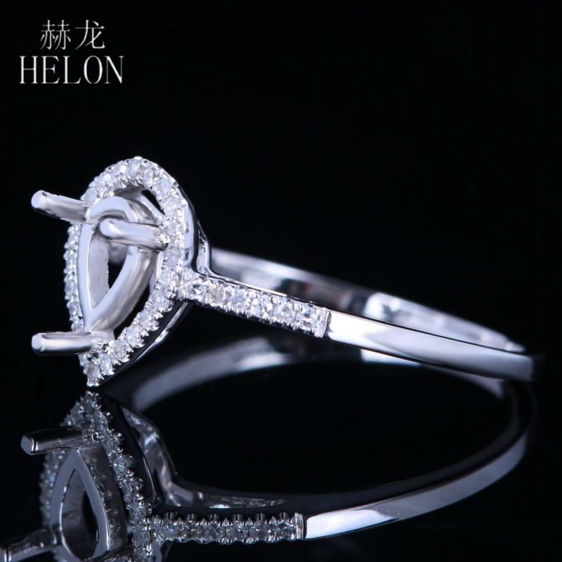 HELON 7x5mm Pear Cut Semi Mount Ring Setting Sterling Silver 925 0.2ct Natural Diamond Engagement Ring Women Trendy Fine Jewelry-in Rings from Jewelry & Accessories    2