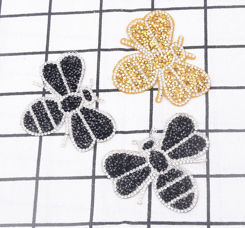 10pcsbag bling gold bee crystal rhinestone Five-pointed Animal design patches sequined shoeshatsbags applique iron on motif