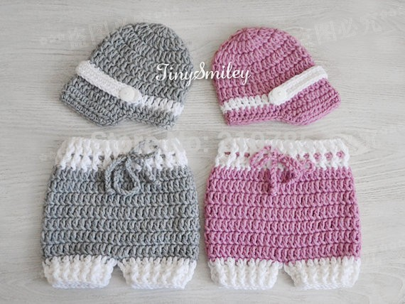 Crochet Baby Boy Boys Girls Hatdiaper Cover Sets Knitted Neonatal