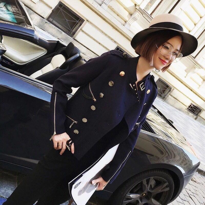 NIC001 moda marina de Las Mujeres chaqueta corta femenina uniforme informal guap