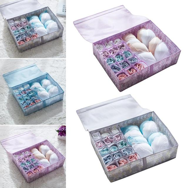 16 compartimentos Folha Imprimir Underwear Bra Meias Caixa de Armazenamento de Gaveta Organizador Caso Quente