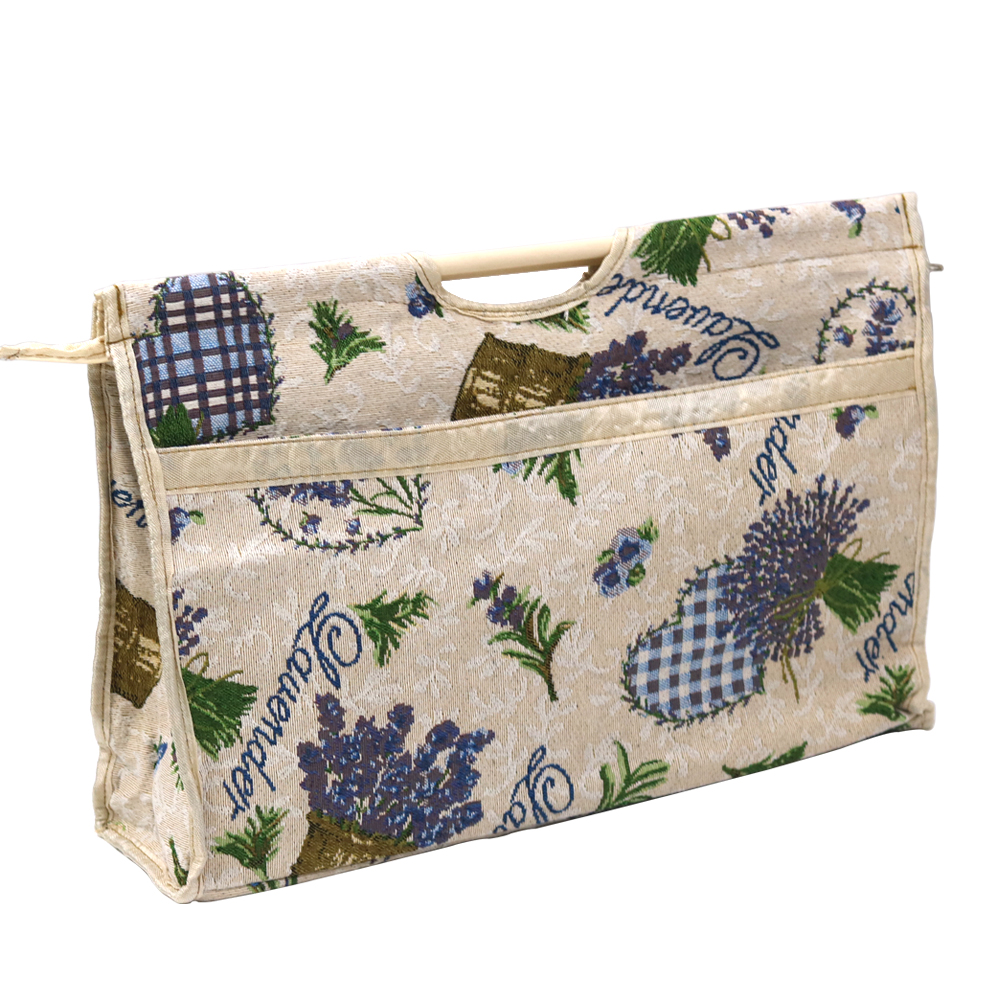 Portable Wood Handle Sewing Tools Storage Bag Organizer Flora Pattern with Zip Pocket Space Big untuk Kraftangan Aksesori Jahit