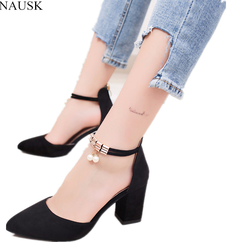 2eaf5f6b8464 nausk/2018 летняя женская обувь, туфли-лодочки с острым носком, модельные  туфли