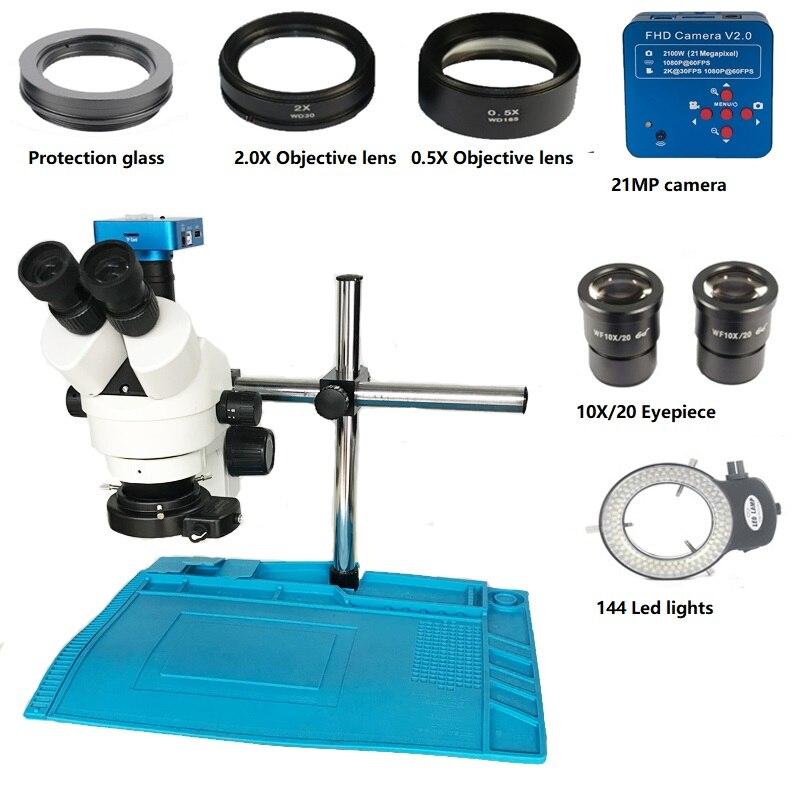 Apoio de braço 3.5X-90X 21MP Trinocular microscópio estéreo + 1080 P HDMI USB Microscópio Digital Video Camera + 144 luzes Led + Mat