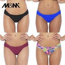 M& M Женский сексуальный купальный костюм с бикини летние купальные плавки однотонные купальники с низкой талией комплект бикини с рюшами с принтом плавки B606