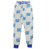 Nouveau Vente Unisexe Emoji Impression Jolie 3D pantalon Joggers Sweat Pantalon-(Blanc et bleu)/(blanc et rouge)