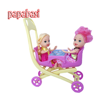 Papabasi 1pcs stroller Double Pram accessories for 3.5″Kelly doll fit 12cm body dolls trolley