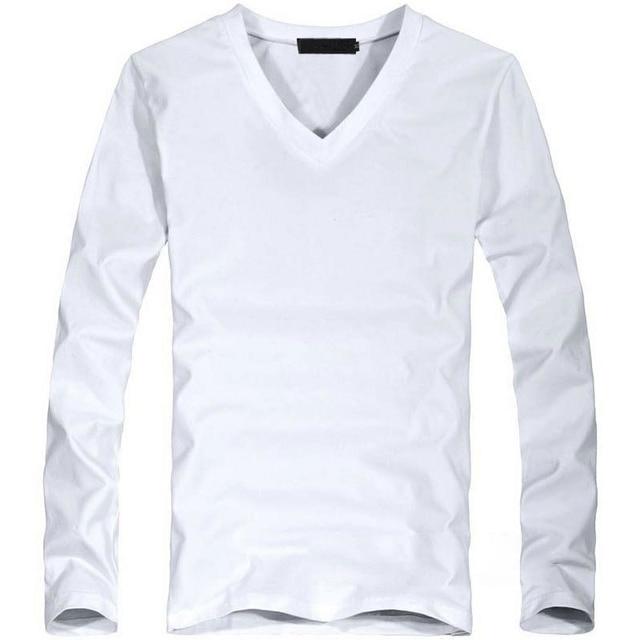 2018 Elastic Mens T-Shirt V-Neck Long Sleeve Men T Shirt For Male Big Size Lycra And Cotton TShirt Business Man Tees 5