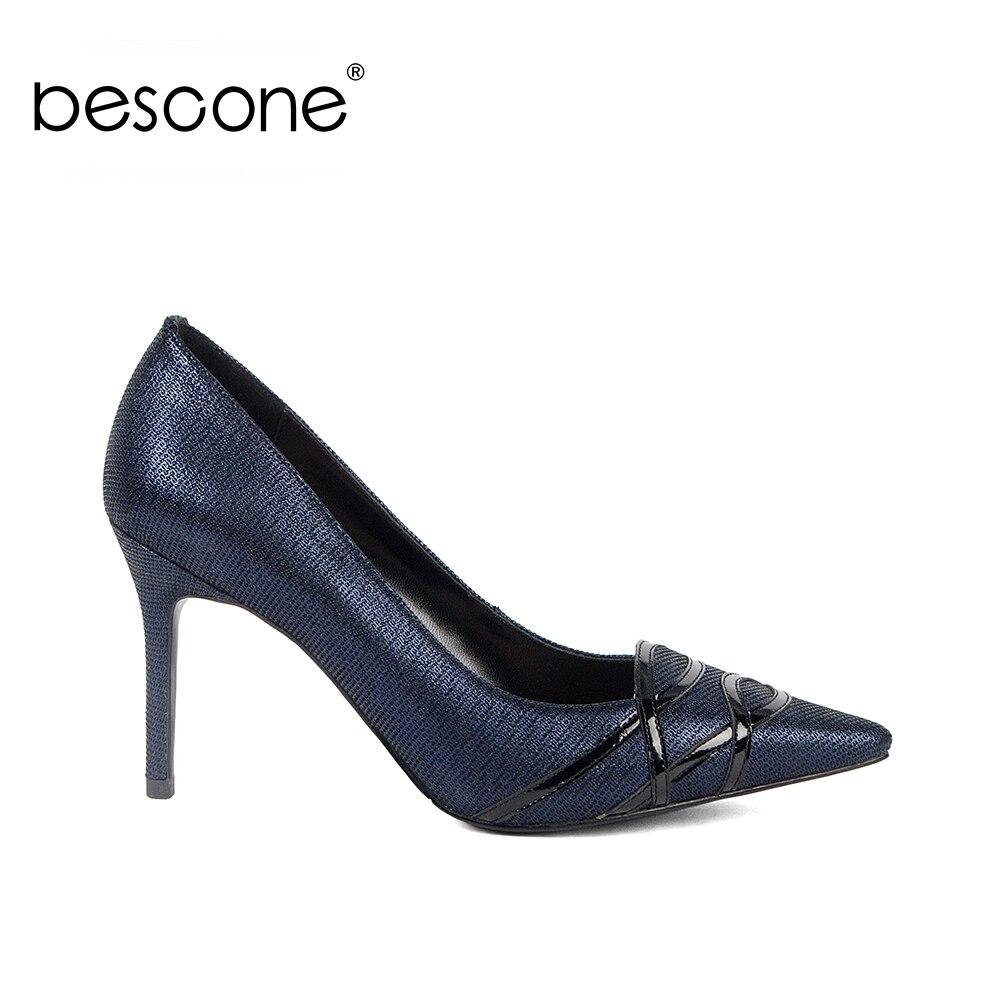 Printemps Brillant Femme Bout Pour Pointu Peu Mince Chaussures Haute Pompes Sexy Nouveau 2019 Bescone Profonde Super Tendance Talons Parti Bc129 Dame Blue ZwqzIUn5x