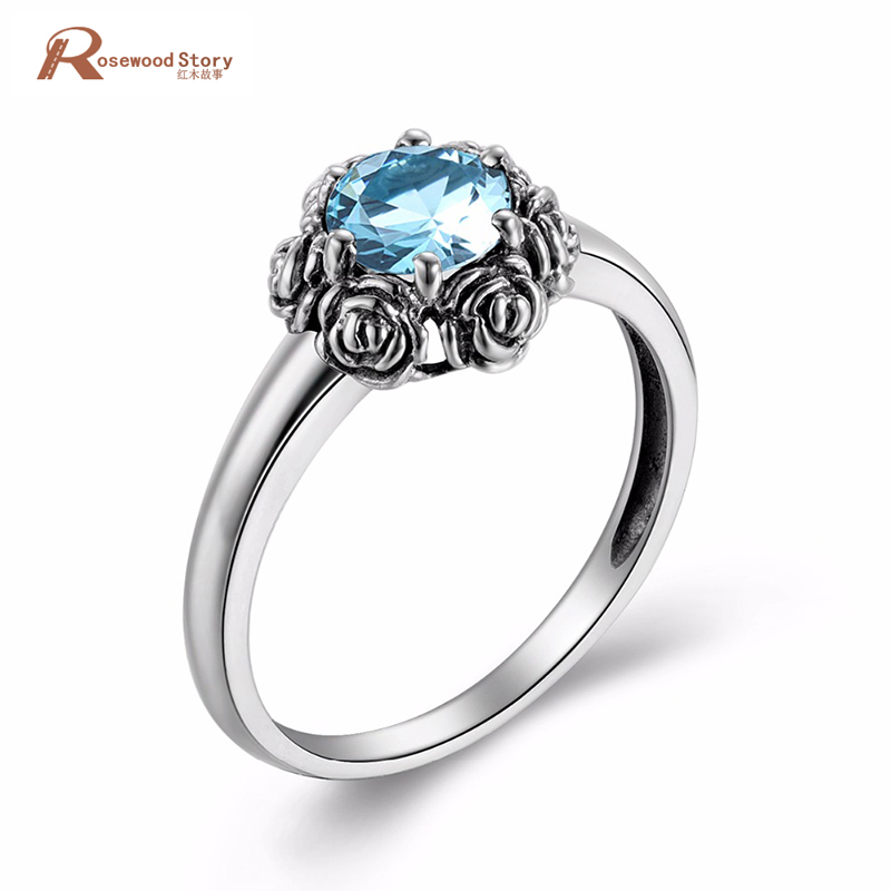 Luxury Woman Jewelry Finger Accessory Rose Sky Blue Crystal Real 925 Sterling Silver Wedding Rings October Birthstone Ring blue october blue october foiled