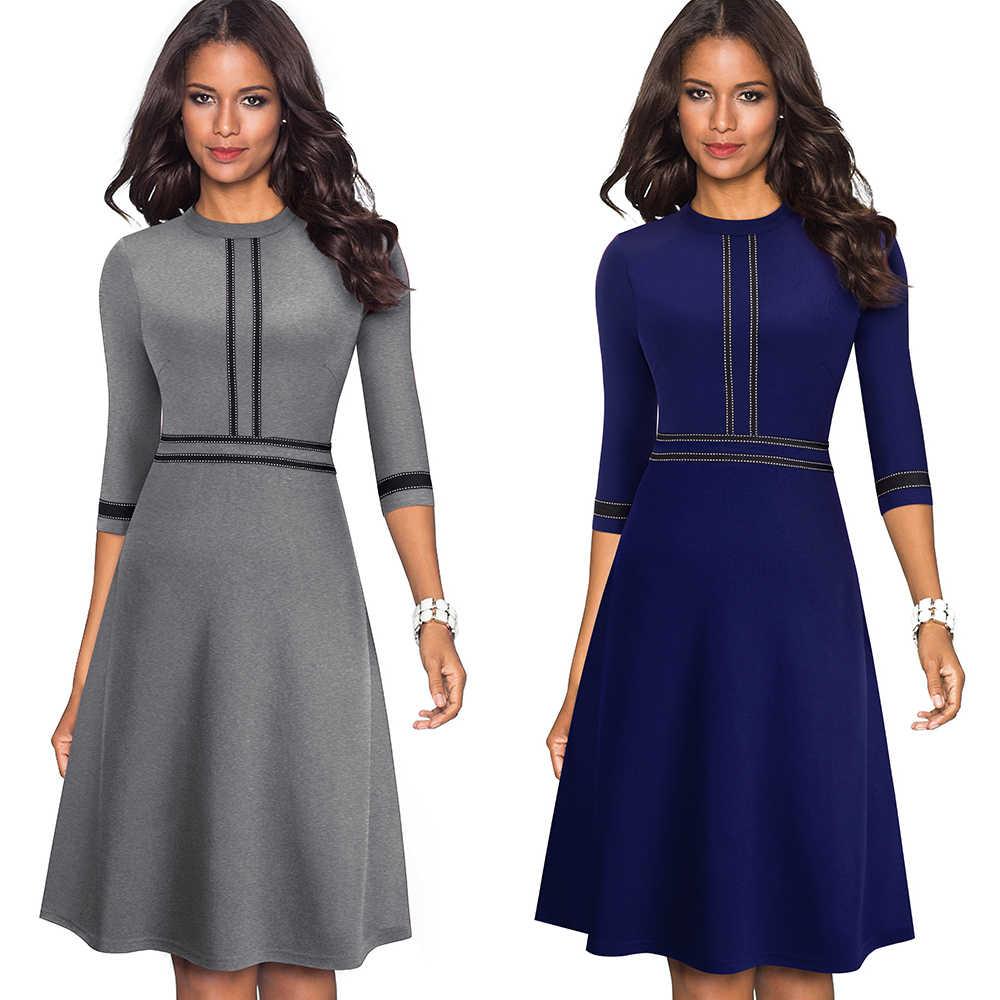 Nice-forever Винтаж элегантное платье в стиле пэчворк с круглым вырезом платье пинап с vestidos Бизнес вечерние расклешенное платье трапециевидной формы в стиле ретро женское платье A135