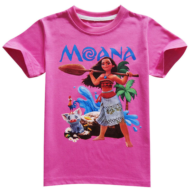 HTB1wLC6iA7mBKNjSZFyq6zydFXag - Disney princess Girl shirts T-shirt Moana Ocean Romance Children kids short sleeve T-shirt summer