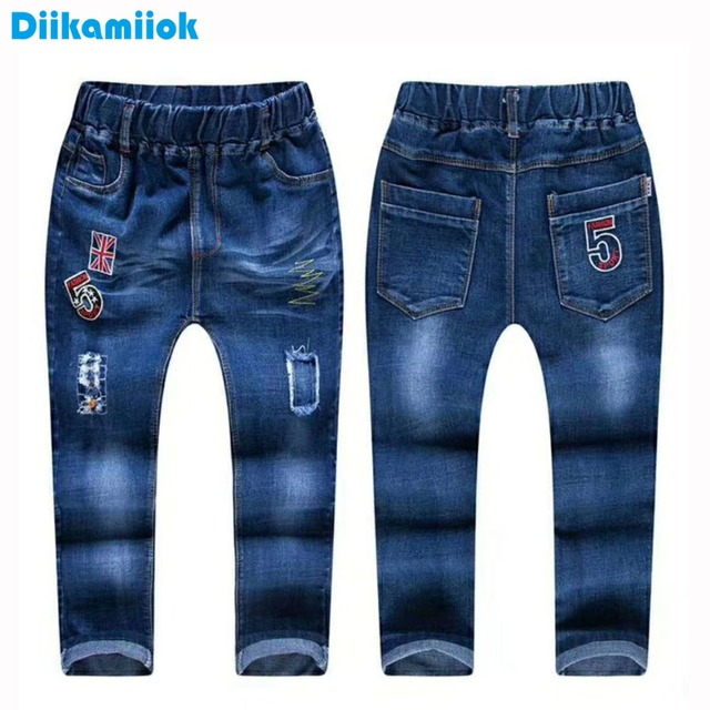 eb1455298 2018 New spring summer boys denim long pants kids boy jeans pant embroider  elastic waist trousers