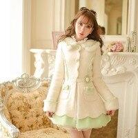 プリンセス甘いロリータコートキャンディ雨冬新しい甘いちょう結びシングルブレスト女性布スリムコートC15CD5987