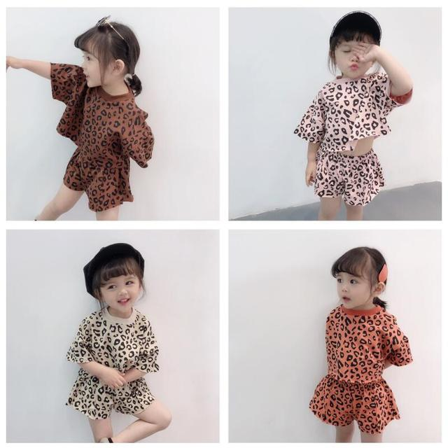 447a3ce8b261 2019 Leopard Print Korean Tops+Shorts 2 Piece Set For Girls Children's  Clothing Sets Toddler Baby Girl Summer Clothes Kids Suit