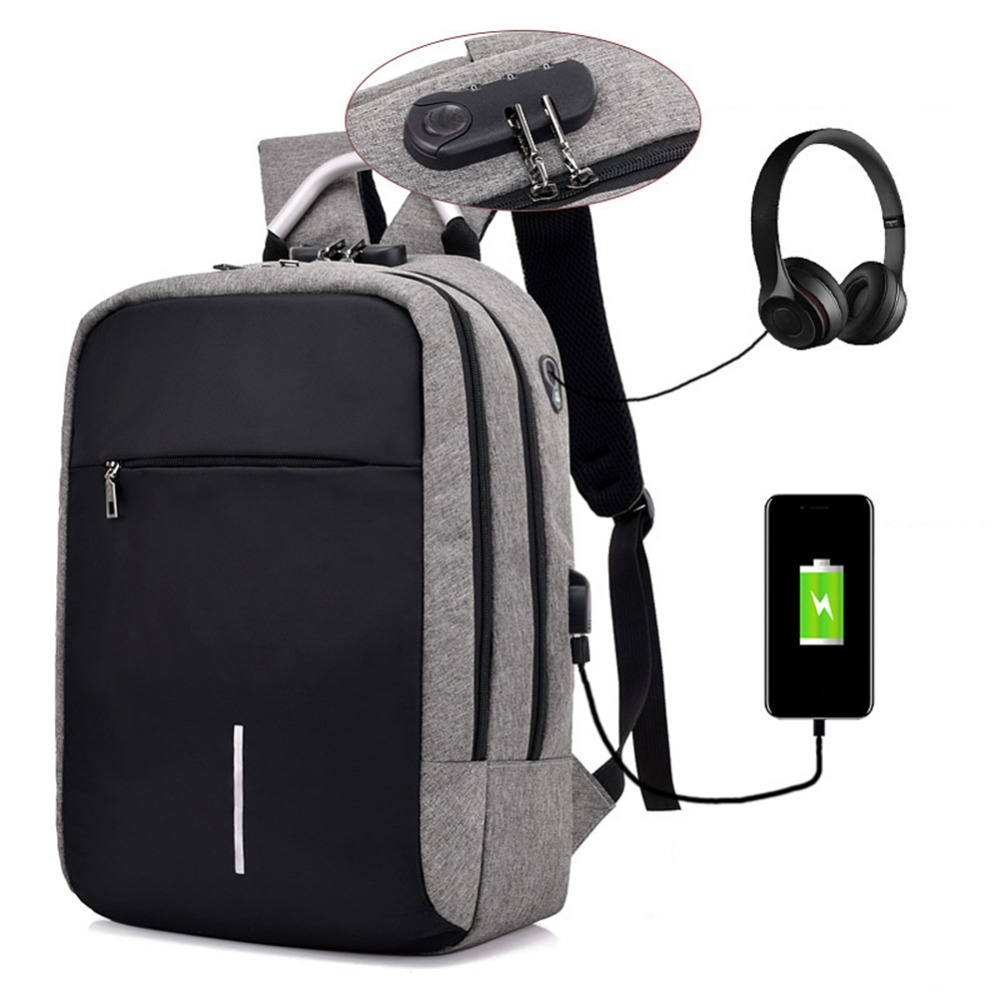 Men USB Charging Laptop Backpacks Male Travel Anti Theft School Bagpack Casual Shoulder Backpacks