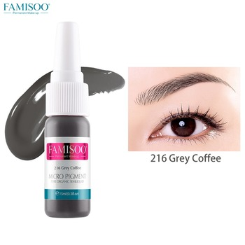 FAMISOO 15ml Grey Coffee Tattoo Ink Pigment Set Kits Body Arts Professinal Beauty Permanent Makesup Paints Accesories pigmentos