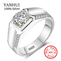 90% OFF! YANHUI Original Jewelry Making 100% Real Solid Silver Rings Set Sona CZ Diamond Engagement Wedding Rings for men  RX014