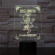 House Lannister Logo LED Night Light Touch Sensor 7 Color Changing Child Kids Hear Me Roar Game of Thrones Desk lamp bedside