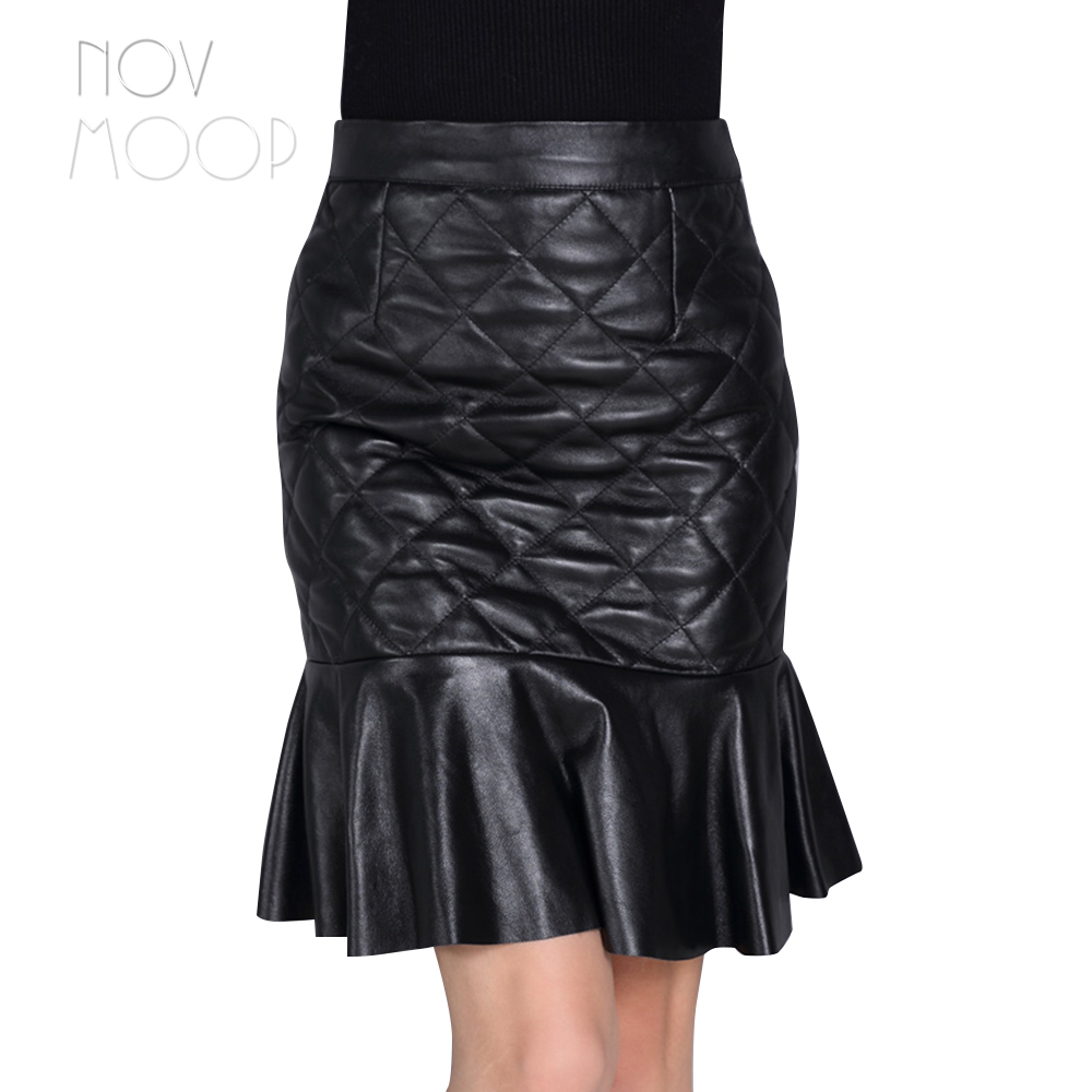 Winter autumn ladies thick quilted black genuine leather real lambskin fish tail skirt faldas mujer etek jupe plus size LT2352