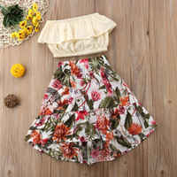 cute 2Pcs Kids Baby Girl clothes set Ruffled Wrapped Chest+Floral Skirt Outfits Summer clothes set