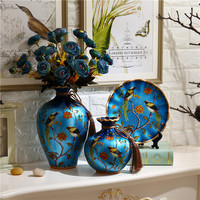 3 pcs set europe pastoral ceramic Flower Vase drawing home decoration tabletop vase new house gift