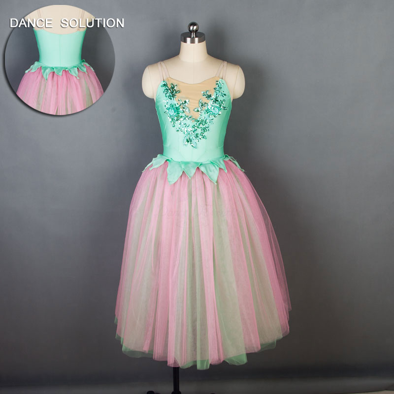 Camisole Green Spandex Bodice with Long Romantic Pink Tutu for Child and Adult Ballet Dancing Stage