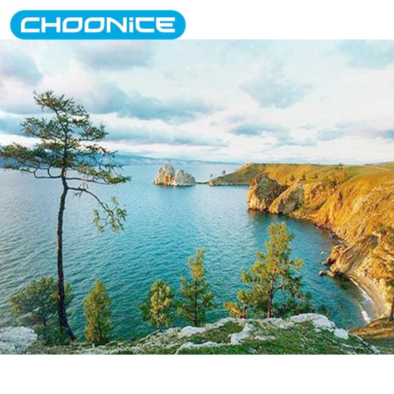 Diamond Mosaic Landscape River Peak Scenery Blue Sea DIY