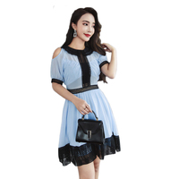 Chiffon Patchwork Women Dress 2018 Spring Summer Fashion Lace Sexy Hollow Out Empire Waist Off The