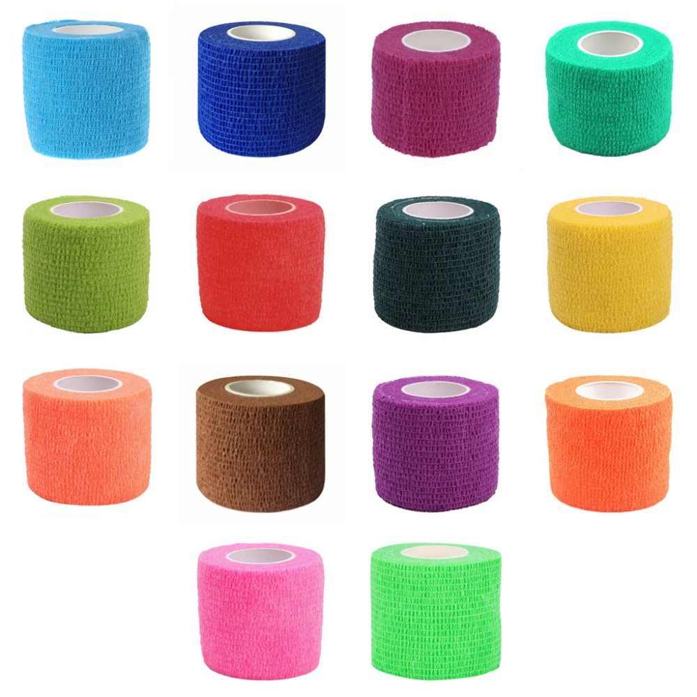 5cm x 4.5m auto-adesivo elástico bandagem médica kit de primeiros socorros fita colorida não-tecido de cuidados de saúde cintas suporta
