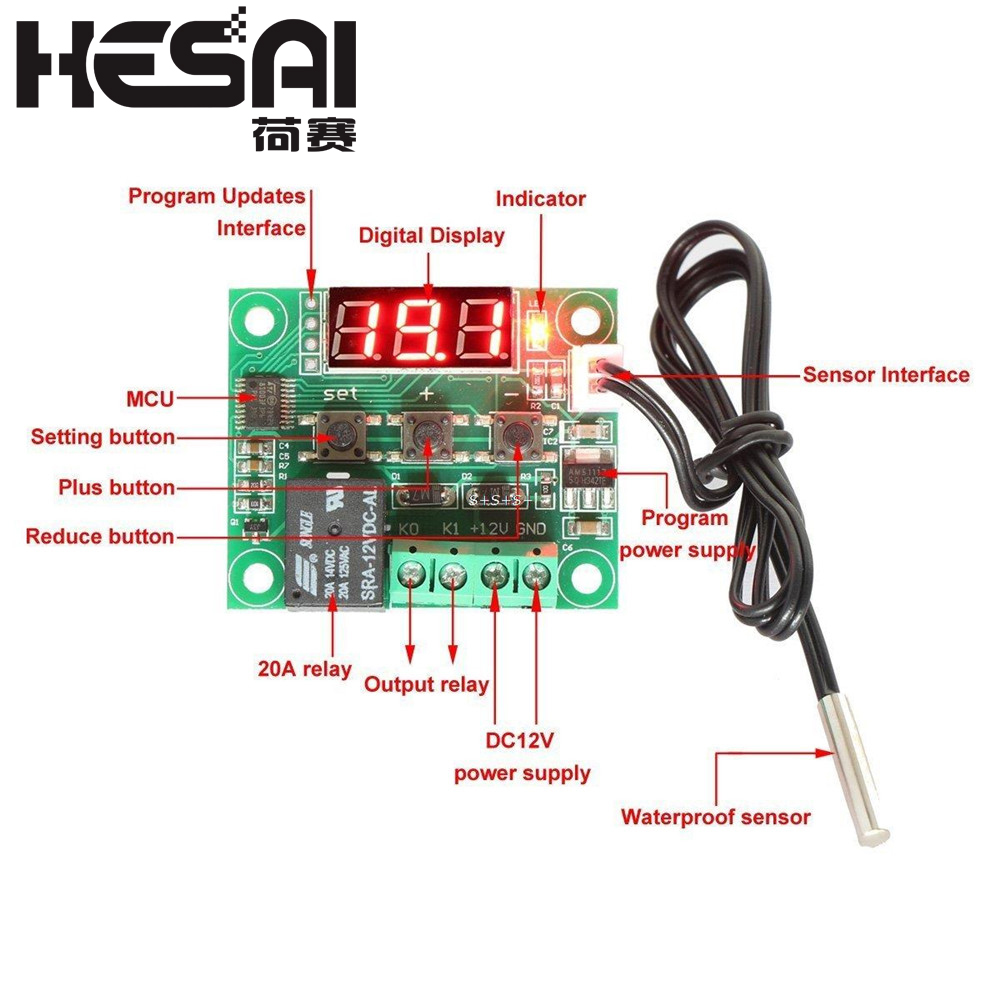 DC 12V W1209 Digital Cool/Heat Temp Thermostat Thermometer Temperature Controller On/Off Switch -<font><b>50</b></font>-<font><b>110C</b></font>+W1209 Case Acrylic Box image