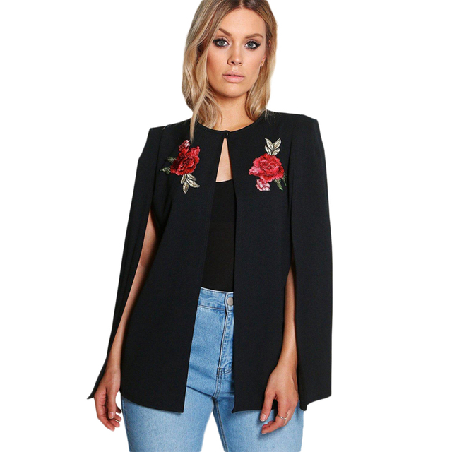 Plus size black floral embroidered one button cape blazers for women ladies oversize OL formal business outwear coats for work