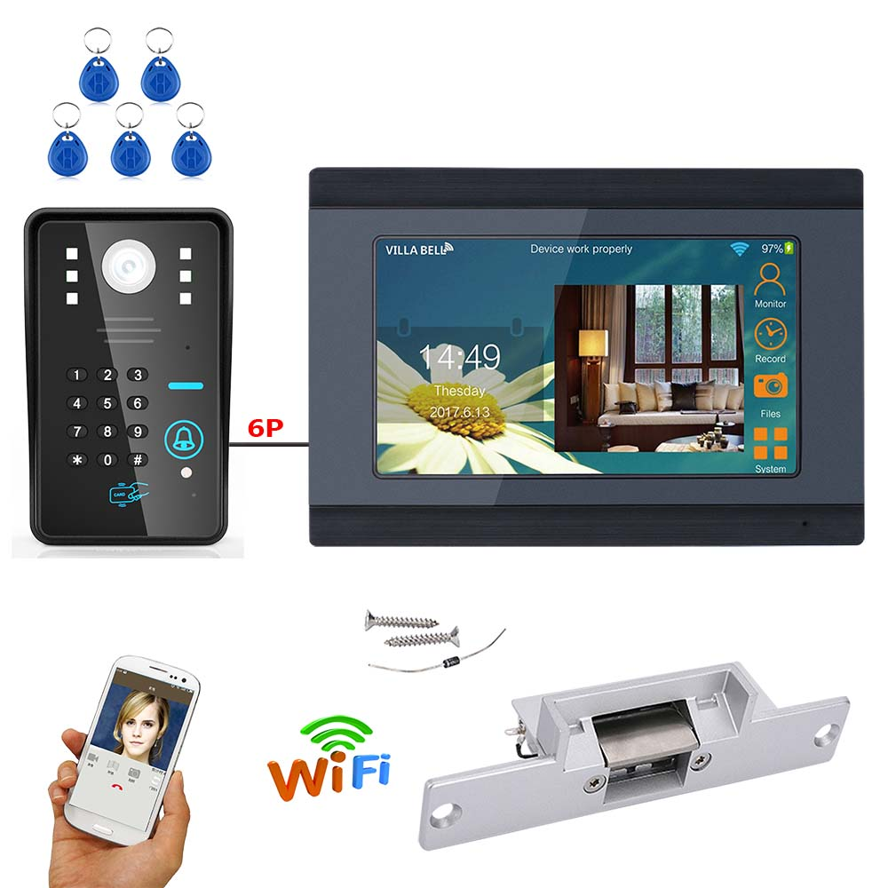 MAOTEWANG  7 Inch Wired / Wireless Wifi RFID Password Video Door Phone Doorbell Intercom System With Electric Strike Lock