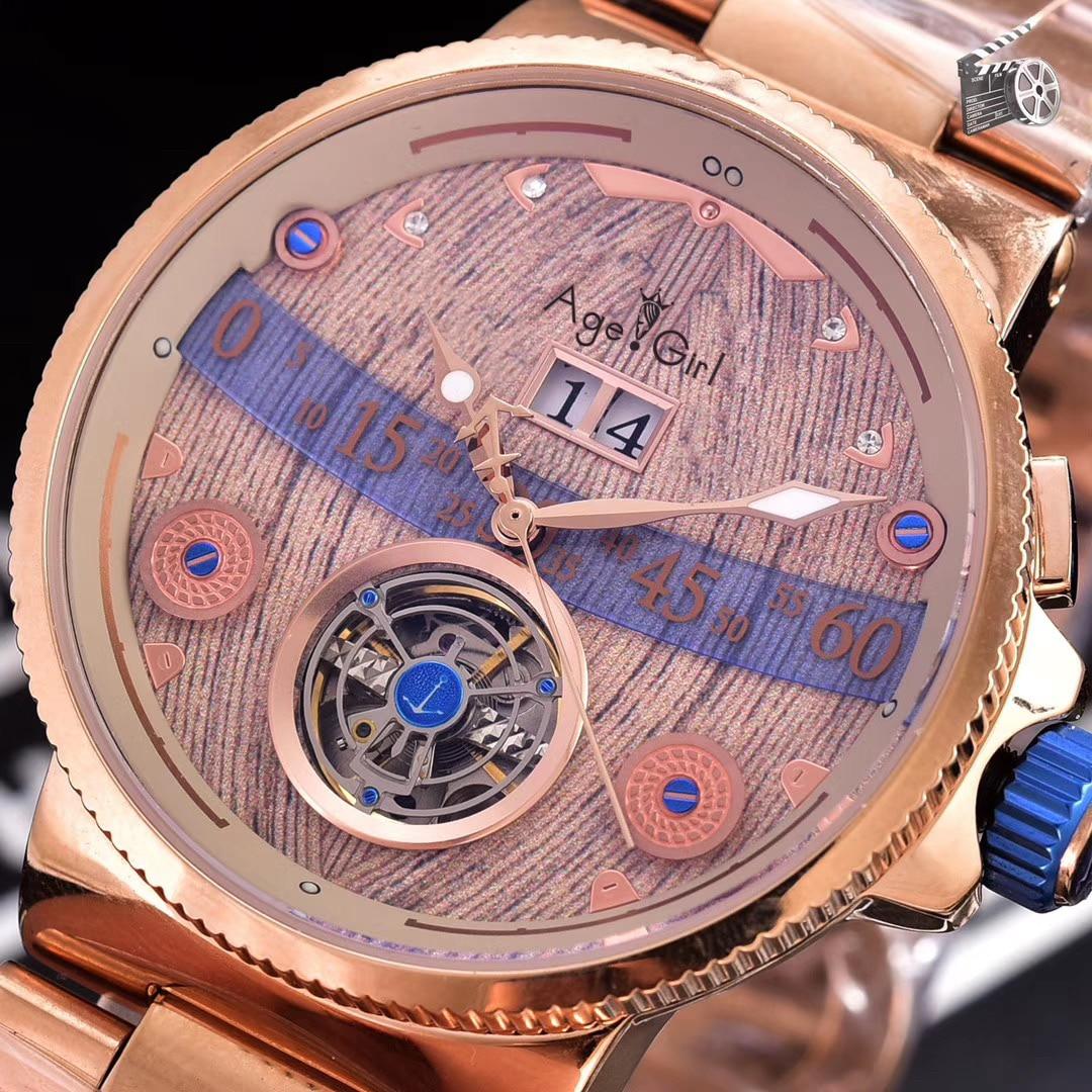Роскошные брендовые Новые Мужские автоматические механические часы из розового золота из нержавеющей стали Grand Deck часы Tourbillion Calendar Limited AAA +