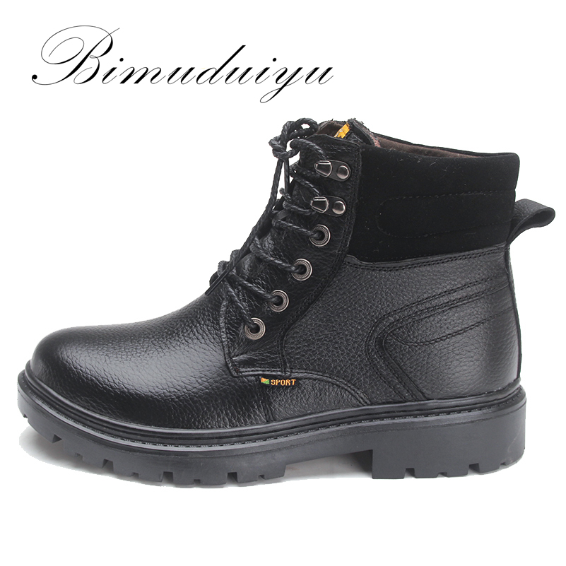 BIMUDUIYU Brand Casual Men Tooling Boot Head Layer Dermis winter Boots Keep Warm Middle High Cylinder Russian style Fashion Boat цена