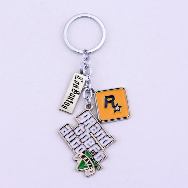 Game PS4 GTA 5 Grand Theft Auto 5 Keychain Key Chain For Men Fans Letter Grand Theft Autob Rock star Keychain Key Buckles 3