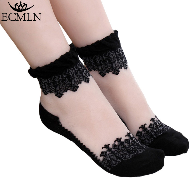 1Pair Women Lace Ruffle Ankle Sock Soft Comfy Sheer Silk Cotton Elastic Mesh Knit Frill Trim Transparent Women's socks drop ship frill trim striped knit tee