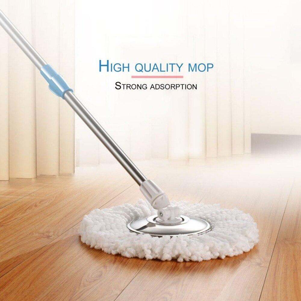 Vadrouille de nettoyage de sol magique à usage domestique pratique 360 degrés de rotation de rotation ensemble de vadrouille de sol en coton à Fiber auto-essoreuse