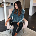 Ahagaga 2017 spring Women Velvet Blouses Long sleeve Turn-down Collar Shirts Female Sexy Streetwear Tops Women blouses Blusas