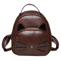 Fashion Cute Cat Backpack Women PU Leather Mini Backpacks for Teenage Girls Funny Cats Ears Vintage Shoulder Bags Female Mochila
