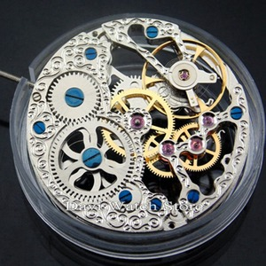 Image 4 - 17 Jewels Silvery Full Skeleton Hand Winding 6497 movement fit Parnis mens watch