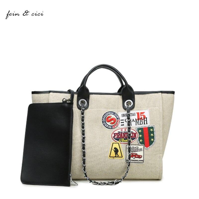 beach bag canvas totes bag large big Jumbo bag shopping bags brand chains handbag summer 2017