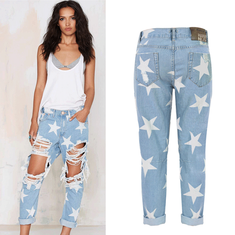 2017 Summer Big Hole Women Jeans With Five-pointed Star Ripped Jeans Light Blue Denim Pants Boyfriend High Wasit Jeans
