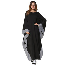#185245 # Long sleeve plaid lace bat dress womens middle east muslin robes Mujer vestidos Arabia Gowns Fashion