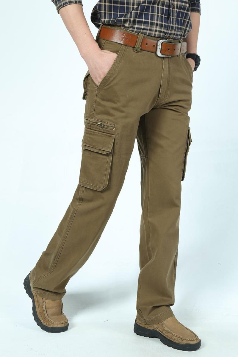 2016 Mens\' Spring Autumn Cotton Cargo Long Pants Pocket Brand AFS JEEP Casual Straight Plus Size Trousers Breathable Pants Khaki (15)