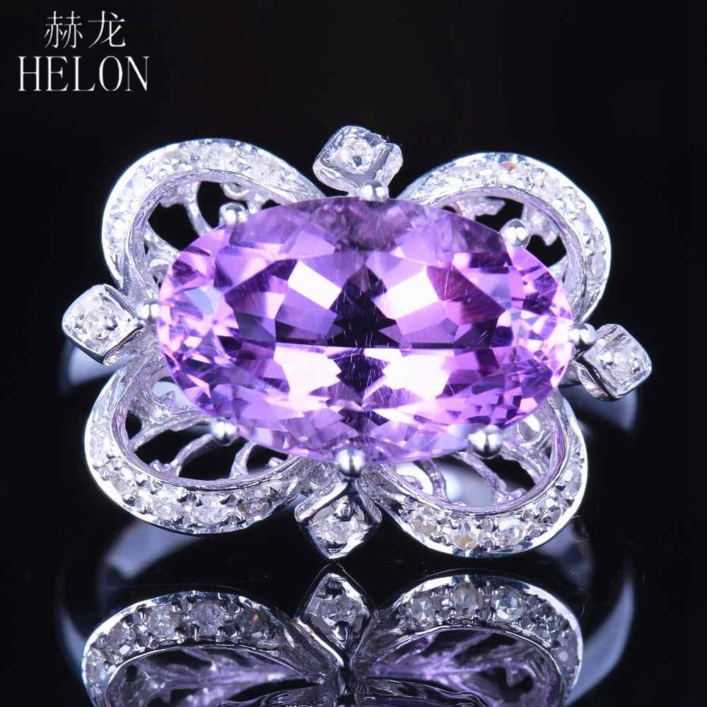 HELON Antique Vintage Solid 14K White Gold 4.75ct 100% Genuine Amethyst Natural Diamond Engagement Wedding Fine Ring Oval 14x9mm