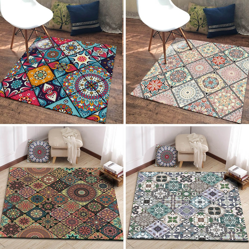 Bohemian Large Area Rugs Living Room Bedroom Decor Carpet Persian Style Rectangular Entrance Doormat Kitchen Non-Slip Floor Mats