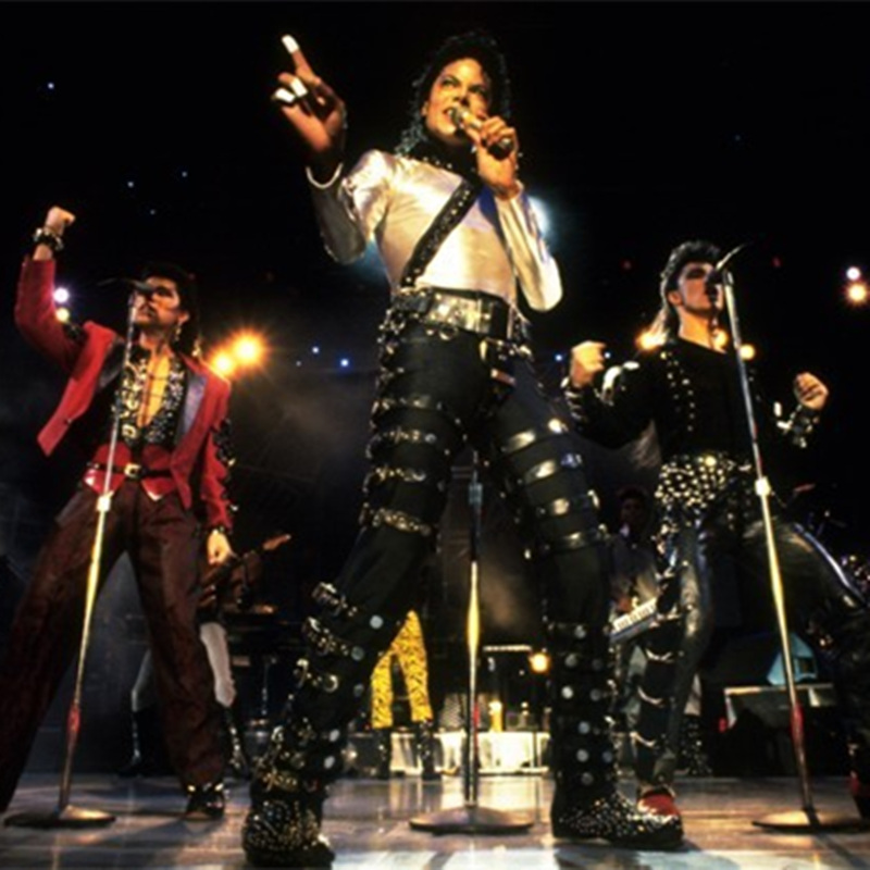 MJ Michael Jackson BAD PUNK Black Silm Fit Show Rock Halloween CostumePerformance Rivet Trousers /pants 27-36