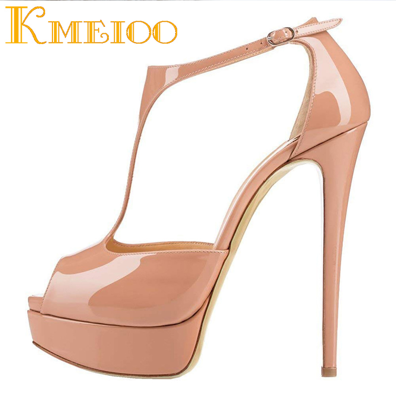 Kmeioo Women's 2018 Fashion Super High Heel 16CM Platform Pumps Peep Toe Stiletto Buckle strap Pumps for Wedding Party Shoes